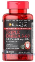 Maximum Strength Triple Omega 3-6-9 Fish  Flax & Borage Oils 120 капс